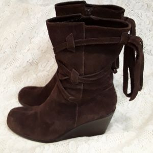 Aerosoles GATHER ALL Brown Suede Wedge Boots 7.5
